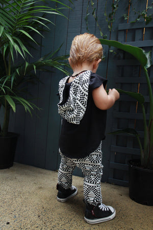 Bubble Harem Black & White Kids & Babies Drop Crotch Pants