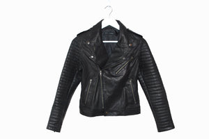 'Youth Has No Age' Womens Leather Biker Jacket