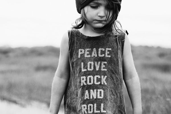 Peace Love Rock N Roll Acid Wash Adult & Baby Muscle Tee