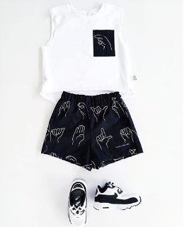 Sign It white tee with black printed pocket for baby & child