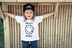 Yo Smile White Wash Metallic Rock N Roll Tee