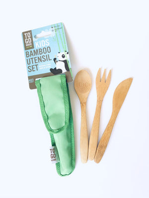 Kids Bamboo Utensil Set BPA And Phthalate Free Eco Friendly Colour Blue Green Pink