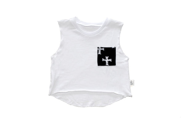 Cross Your Heart Muscle Tee White With Black Pocket