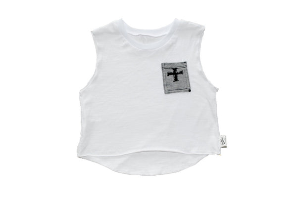 Cross Your Heart Muscle Tee White With Grey Pocket