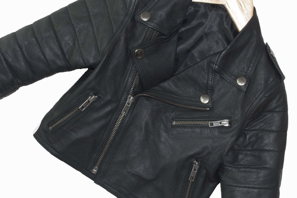 Brave Fearless Youth Kids Leather Biker Jacket Brave And Fearless