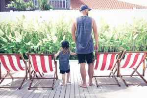 SoCal Black Wet Wash Zepplin Muscle Tee Matching Dad & Child Tee Set