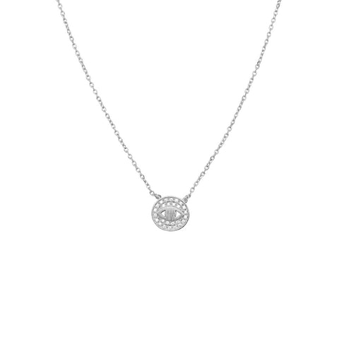 Crystal Eye Necklace Silver
