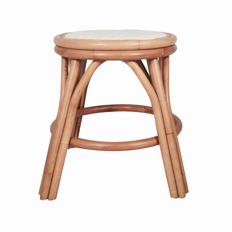Billy Rattan Woven Short Stool White