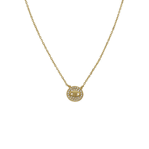 Crystal Eye Necklace Gold