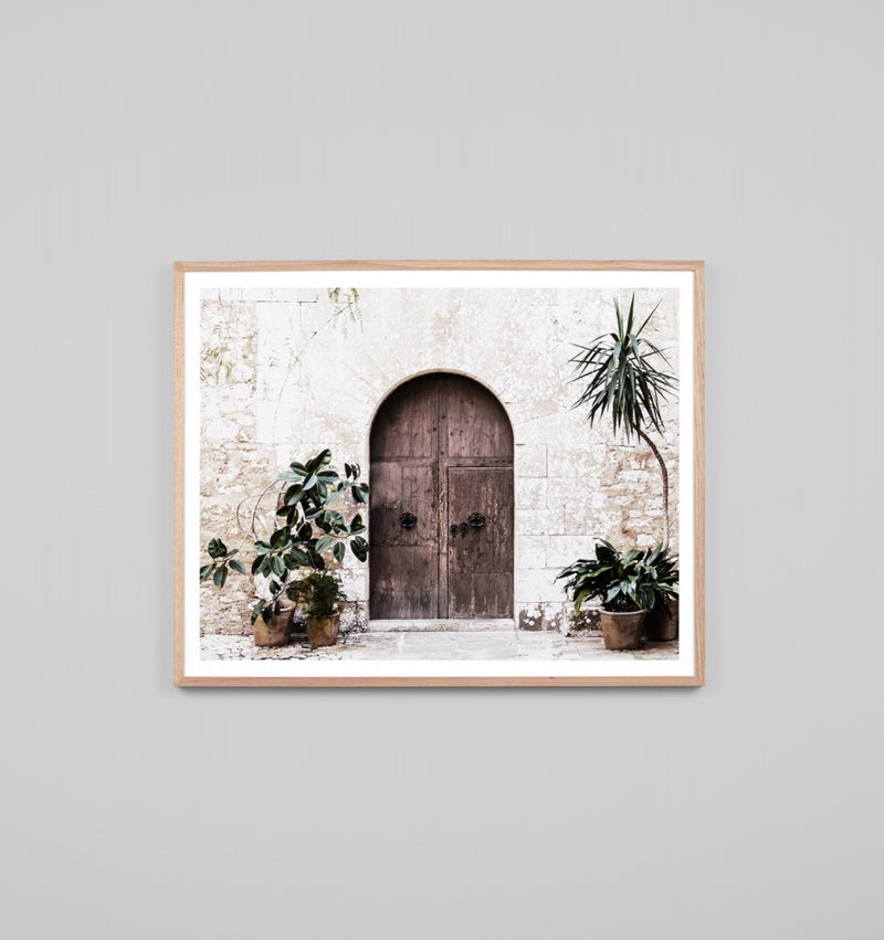 'Villa Door Natural' Framed Print