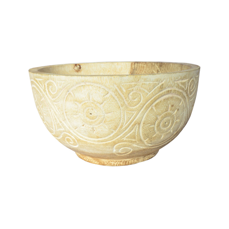 Large Carved Bowl White Wash
