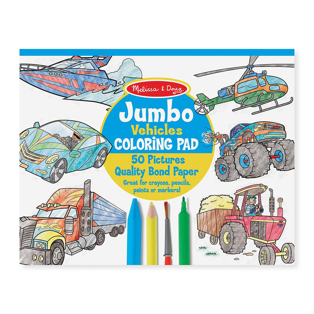 Melissa and Doug Jumbo Vehicles Colouring Pad