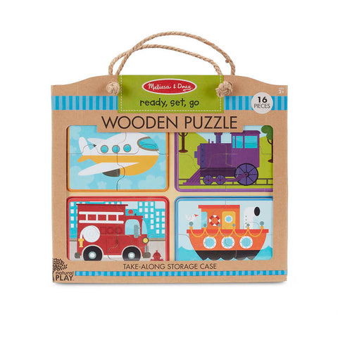 Melissa and Doug Ready, Set, Go! Natural Play Wooden Puzzle