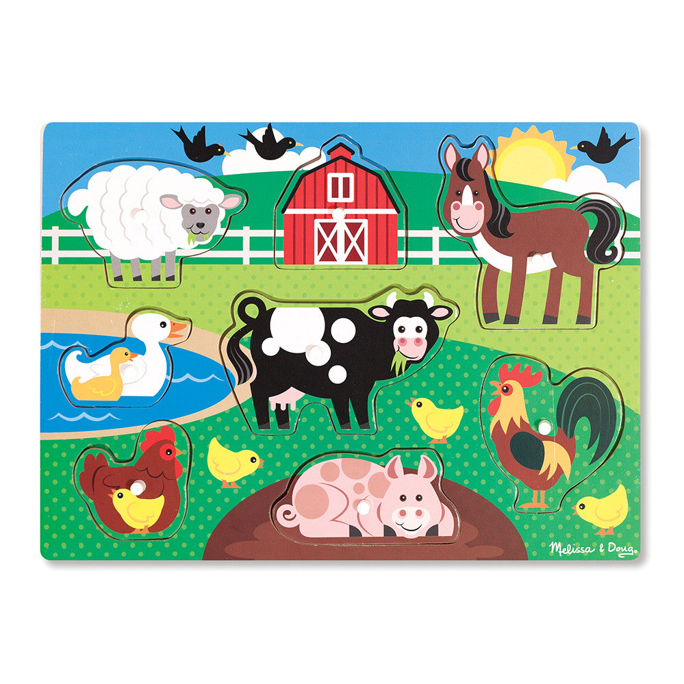 Melissa and Doug: Farm Peg Puzzle - Melissa and Doug - Little Funky Monkey