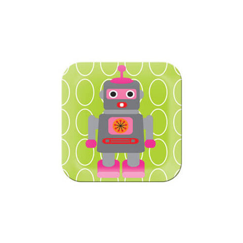 French Bull Pink Robot on Green Plate