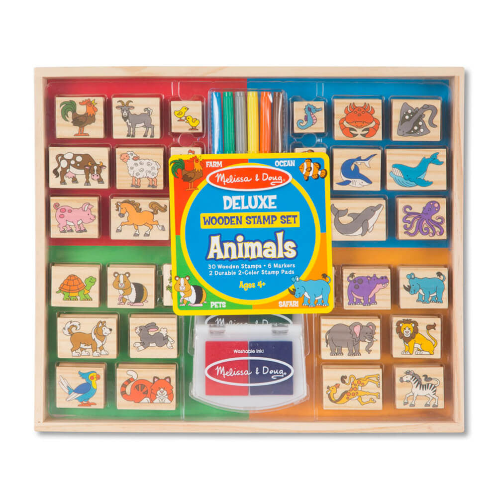 Melissa and Doug Deluxe Animals Wooden Stamp Set