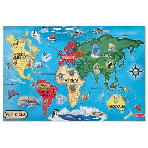 Melissa and Doug: World Map Floor puzzle 33pc - Melissa and Doug - Little Funky Monkey