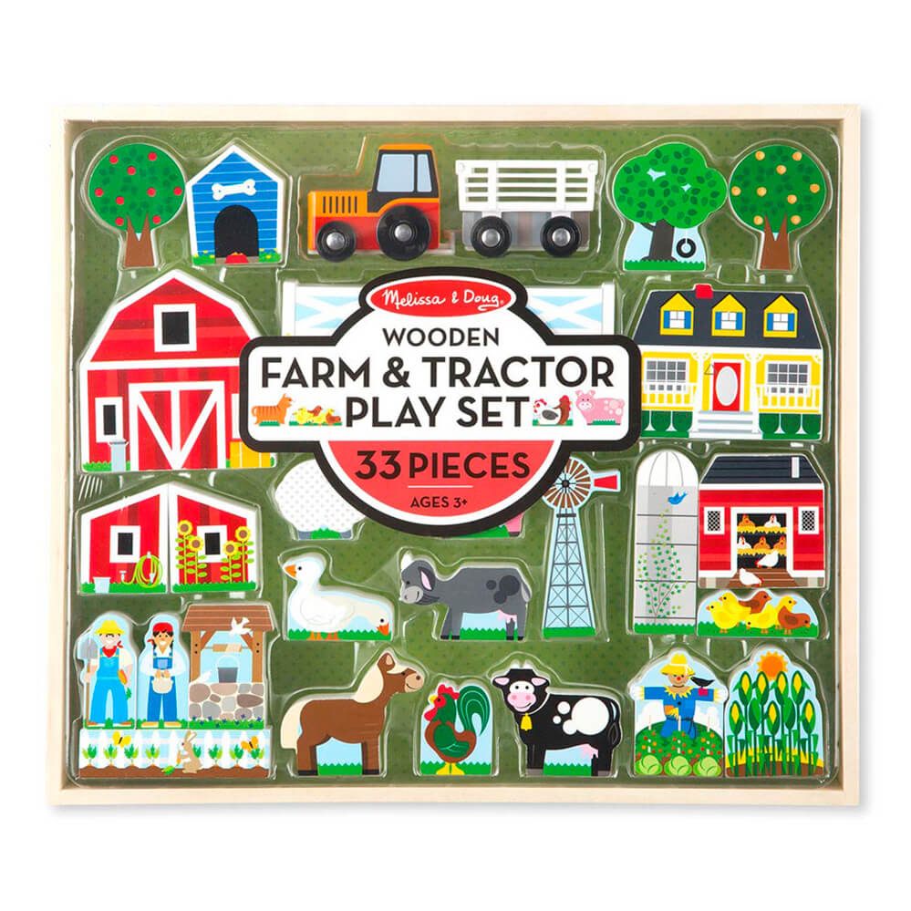 Melissa and Doug Wooden Farm & Tractor Play Set