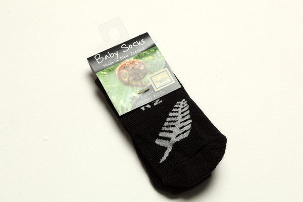 'Black with Silver Fern' Merino Wool Baby Socks