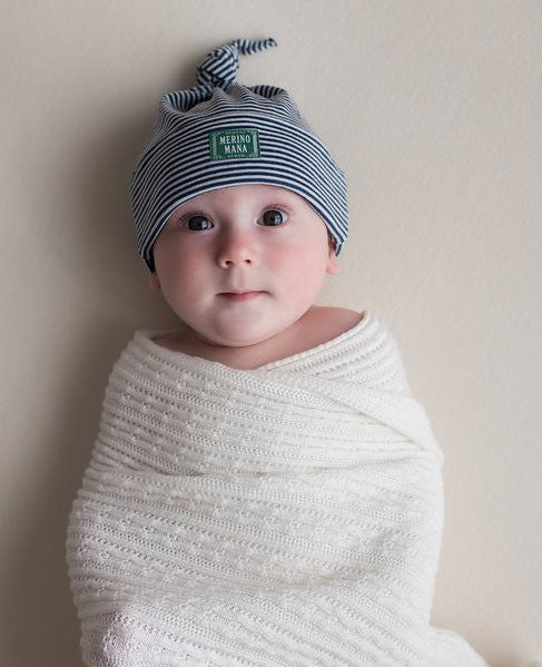 'Magnolia' Merino Wool Baby Blanket and Blue Stripe Merino Wool Hat.