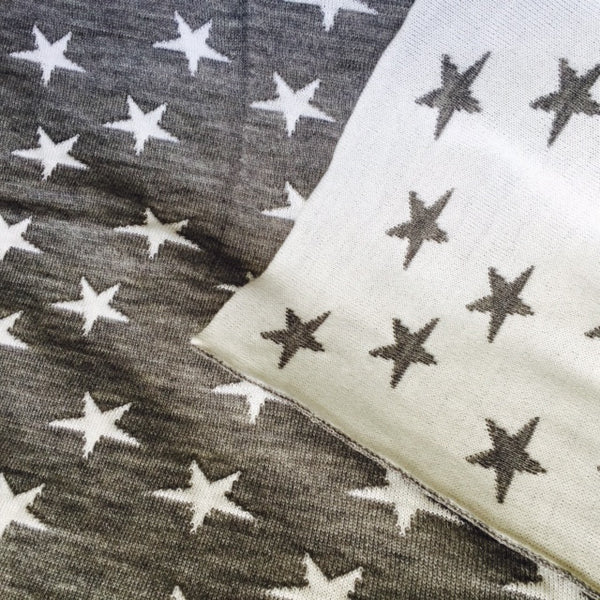 silver and white stars reversible merino wool baby blanket. made in new zealand