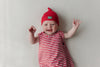 Merino wool and cotton baby sleeping bag red