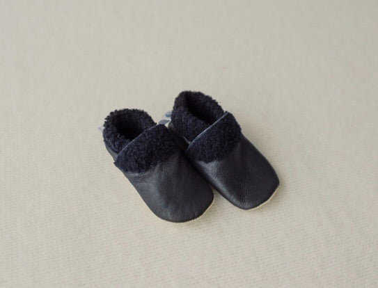 Dapper Dreamwear Leather and Wool Baby Slippers 'Navy'