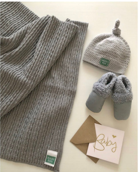 'Cloudy Day' Merino Blanket, Hat and Booties Gift Set