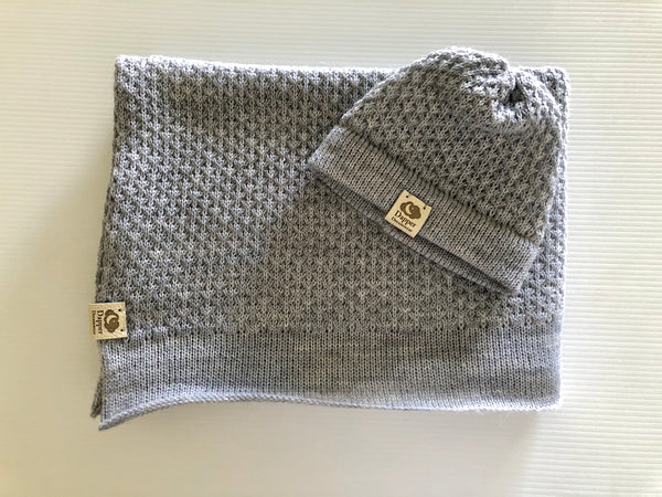 Dapper Dreamwear Silver Merino x Baby Blanket and Hat