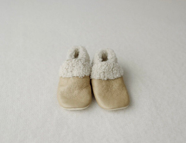 Dapper Dreamwear Leather and Wool Baby Slippers 'Natural'