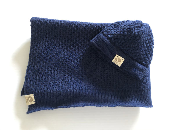 Navy Dapper Dreamwear Merino x Baby Hat and Blanket Gift Set