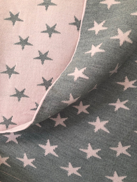 soft pink and silver stars reversible merino wool baby blanket. made in new zealand