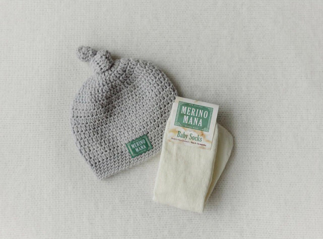 Dove and Snow Merino Wool Hat and Sock Set