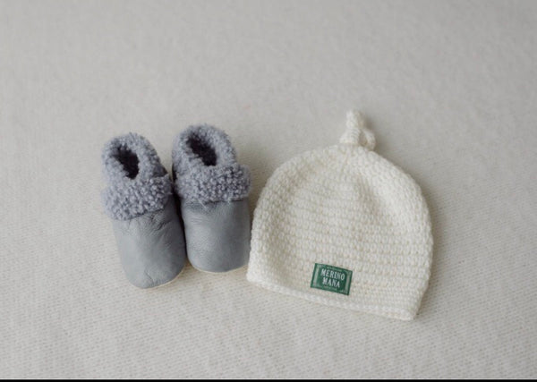 'Steel' Baby Booties and Snow Merino Wool Hat