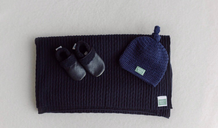 Navy Merino Wool Baby Blanket, Crochet Hat and Booties