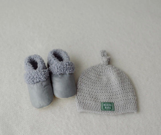 'Dove' Crochet Hat and Steel Baby Booties