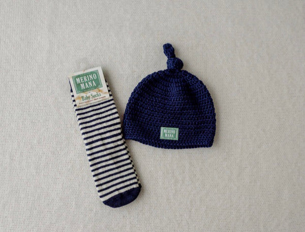 Navy Merino Wool Hat and Sock Set