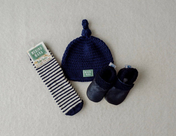'Navy' Merino Wool Hat, Sock and Bootie Set