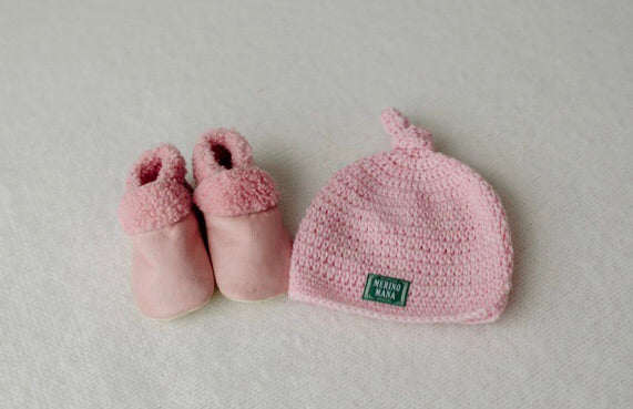 'Prettiest Pink' Merino Wool Hat and Baby Booties