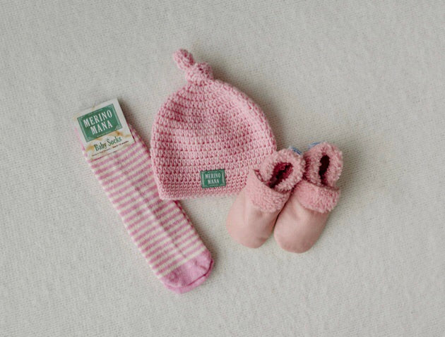 'Prettiest Pink' Merino Wool Hat, Sock and Bootie Set