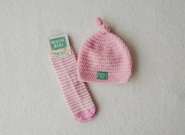 Prettiest Pink Merino Wool Hat and Sock Set