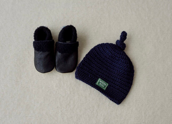 'Navy' Merino Wool Hat and Baby Booties