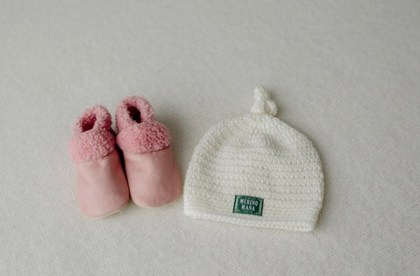 Prettiest Pink Baby Booties and Snow Merino Wool Bab