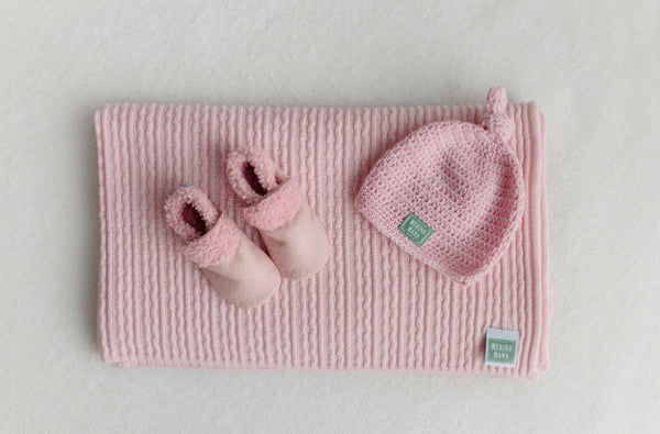 Cinderella Merino Wool Baby Blanket, Crochet Hat and Pink Booties