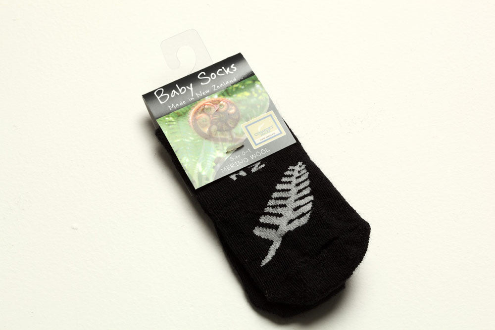 Merino Wool Baby Socks Black with Silver Fern Made in New Zealand