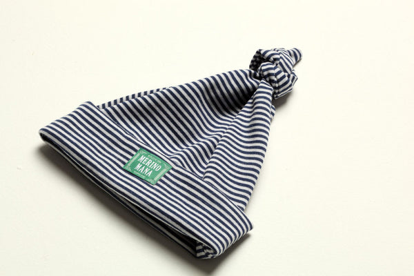 Merino Wool Baby Beanie Blue and White Stripe Made in New Zealand