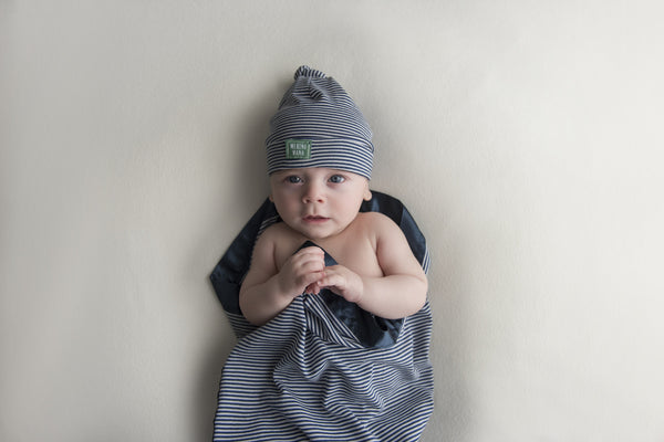 Merino Wool Blue and White Stripe Swaddle Wrap and Hat Gift Set. Made in New Zealand