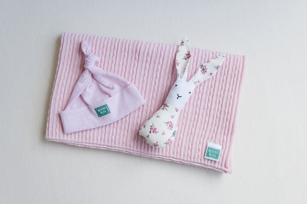 'Cinderella' Merino Wool Blanket, Rose Stripe Hat and Toy Gift Set
