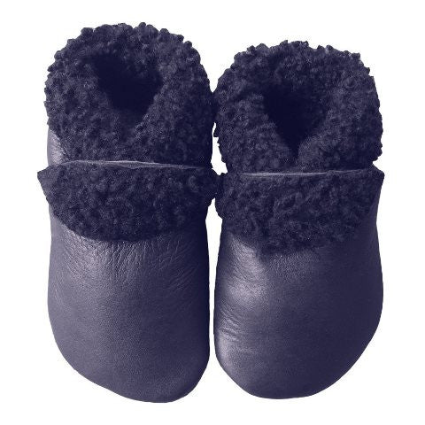 'Navy' Lambs Wool Booties - Pitter Patter