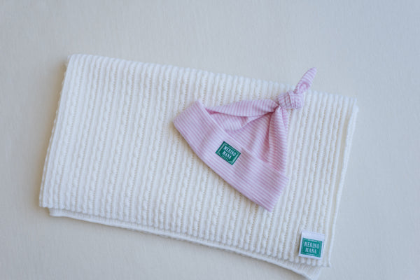 Magnolia Baby Blanket and Pink Stripe Hat